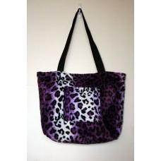 Purple Leopard Faux Fur Tote Bag