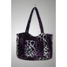 Purple Leopard Faux Fur Medium Handbag