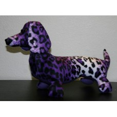 Purple Leopard Faux Fur Stuffed Dachshund