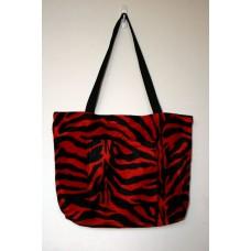 Red Zebra Faux Fur Tote Bag