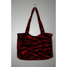 Red Zebra Faux Fur Medium Handbag