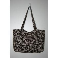 Brown Skull Medium Handbag